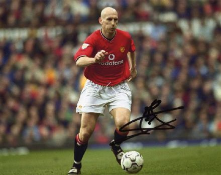Jaap Stam, Manchester Utd & Holland, signed 10x8 inch photo.